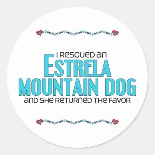 Eu salvei um cão da montanha de Estrela (o cão fêm Adesivos Em Formato Redondos