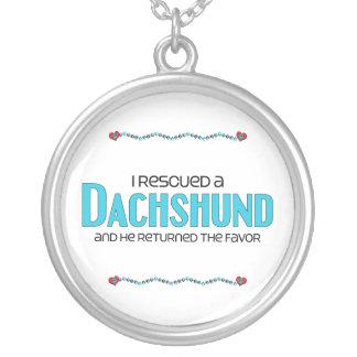 Eu salvei um Dachshund (o cão masculino) Colar Com Pendente Redondo