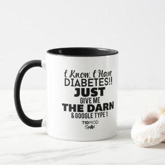 Eu sei que eu tenho a caneca branca Diabetes-Preta