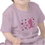 """""""Eu sou 1"""" rosa e aniversário das flores de Brown T-shirts"""