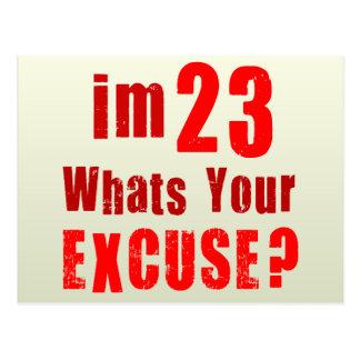 Eu sou 23, o que sou sua desculpa? Aniversário Cartão Postal