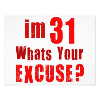 Eu sou 31 o que sou sua desculpa Aniversário Convites