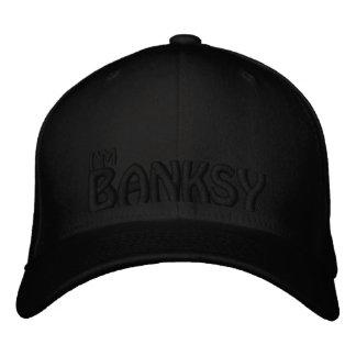 Eu sou Banksy (o PRETO NO PRETO) Boné Bordado