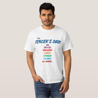 """""""Eu sou camisa de T do pai de um esgrimista""""."""