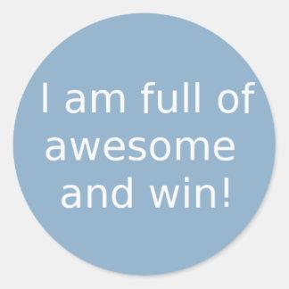 Eu sou cheio de impressionante e vitória adesivos em formato redondos