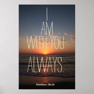 Eu sou com você sempre poster do verso da bíblia