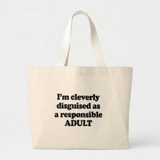 Eu sou disfarçado inteligente como um adulto respo sacola tote jumbo