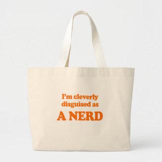 Eu sou disfarçado inteligente como um traje do ner sacola tote jumbo