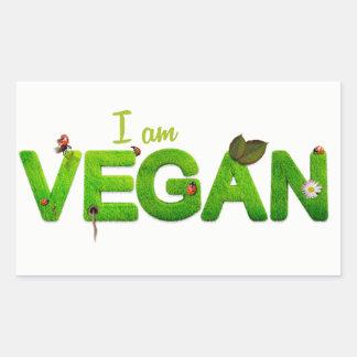 Eu sou etiqueta do Vegan Adesivo Retangular