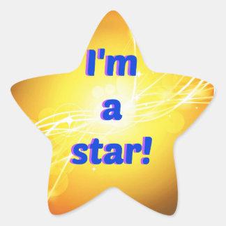 Eu sou etiquetas de uma estrela, lustrosas adesito estrela