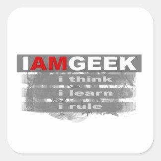 Eu sou geek adesivo quadrado