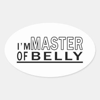 Eu sou mestre da dança do ventre adesivos em formato oval