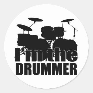 Eu sou o baterista adesivo redondo