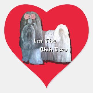 Eu sou o Shih Tzu - etiquetas do coração