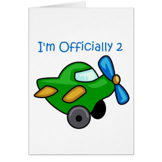 Eu sou oficialmente 2, plano de jato cartão comemorativo