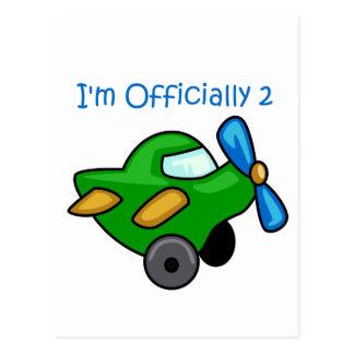 Eu sou oficialmente 2, plano de jato cartao postal