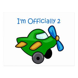 Eu sou oficialmente 2, plano de jato cartoes postais