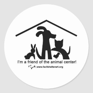 Eu sou um amigo do centro animal adesivos em formato redondos