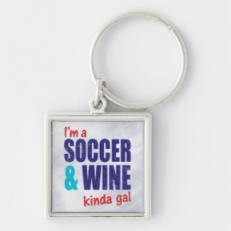 Eu sou um futebol & um tipo do vinho do galão chaveiro quadrado na cor prata