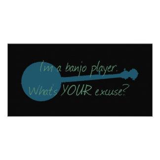 Eu sou um jogador do banjo, o que sou sua desculpa cartao com foto personalizado