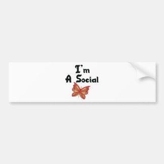 Eu sou uma borboleta social adesivos