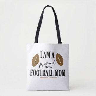Eu sou uma sacola orgulhosa da mamã do futebol bolsa tote