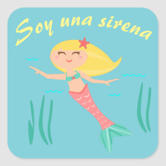 """""""Eu sou uma sereia!"""" Etiqueta da língua espanhola"""