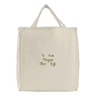 Eu sou Vegan para a vida. Verde. Slogan. Costume Bolsa