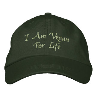 Eu sou Vegan para a vida. Verde. Slogan. Costume Boné Bordado