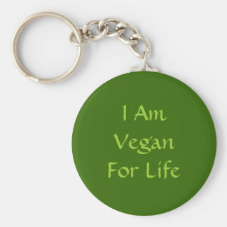 Eu sou Vegan para a vida. Verde. Slogan. Costume Chaveiro
