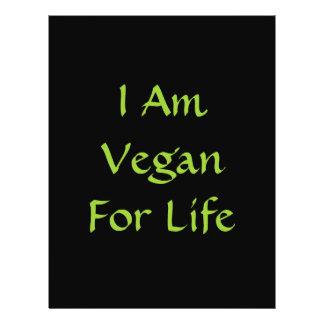 Eu sou Vegan para a vida. Verde. Slogan. Costume Panfletos Personalizado