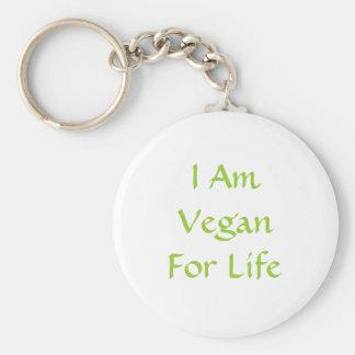 Eu sou Vegan para a vida. Verde. Slogan. Costume Chaveiros