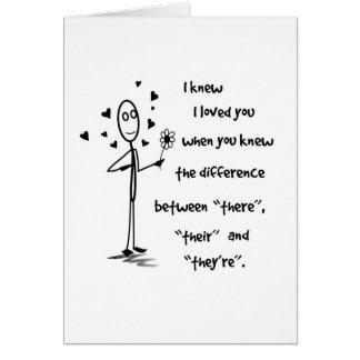 Eu soube que eu o amei gramática - cartão