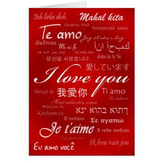 Eu te amo (30 línguas) cartão comemorativo