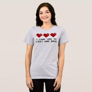 Eu te amo à camisa de 8 bits e traseira do nerd do