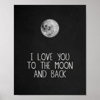 Eu te amo à lua e à arte traseira do poster da lua