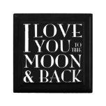 Eu te amo à lua e à caixa de jóia traseira porta jóia