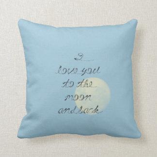 Eu te amo à lua e à parte traseira travesseiro