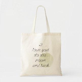 Eu te amo à lua e à parte traseira bolsa para compra