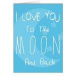 Eu te amo à lua e à parte traseira cartao