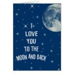 Eu te amo à lua e à parte traseira cartoes