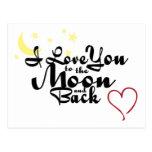 Eu te amo à lua e ao cartão traseiro cartão postal