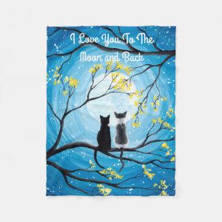 Eu te amo à lua e ao gato traseiro cobertor de velo