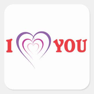 Eu te amo adesivo quadrado