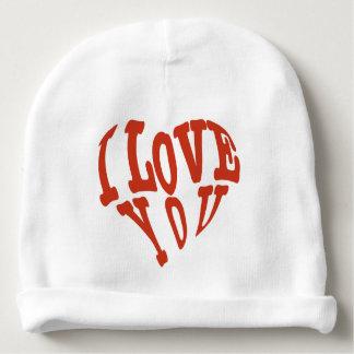 Eu te amo arte vermelha bonita bonita do vetor dos gorro para bebê