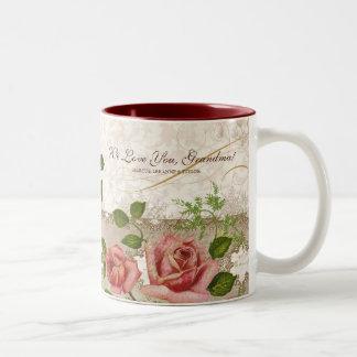 Eu te amo avó, caneca inglesa dos rosas do vintage