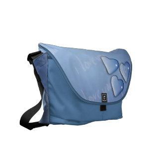 Eu te amo azul bolsas mensageiro