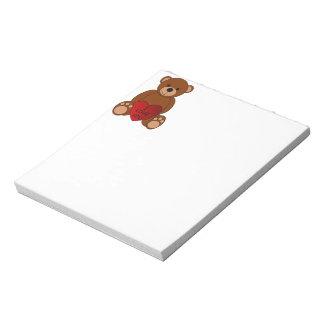 Eu te amo bloco de notas do urso
