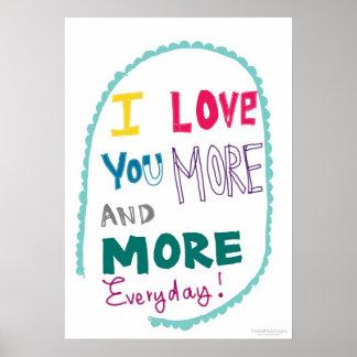 Eu te amo cada vez mais diário posteres