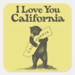 Eu te amo Califórnia Adesivo Em Forma Quadrada